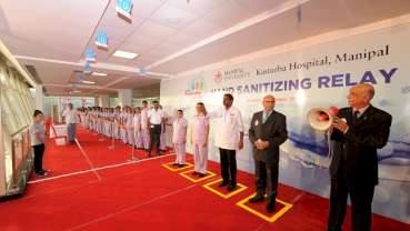 Hand sanitizing relay at Kasturba Hospital, Manipal- A guinness world record attempt