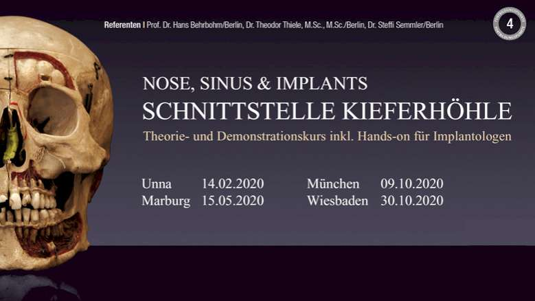 Schnittstelle Kieferhöhle – neue Humanpräparate-Kurse in 2020
